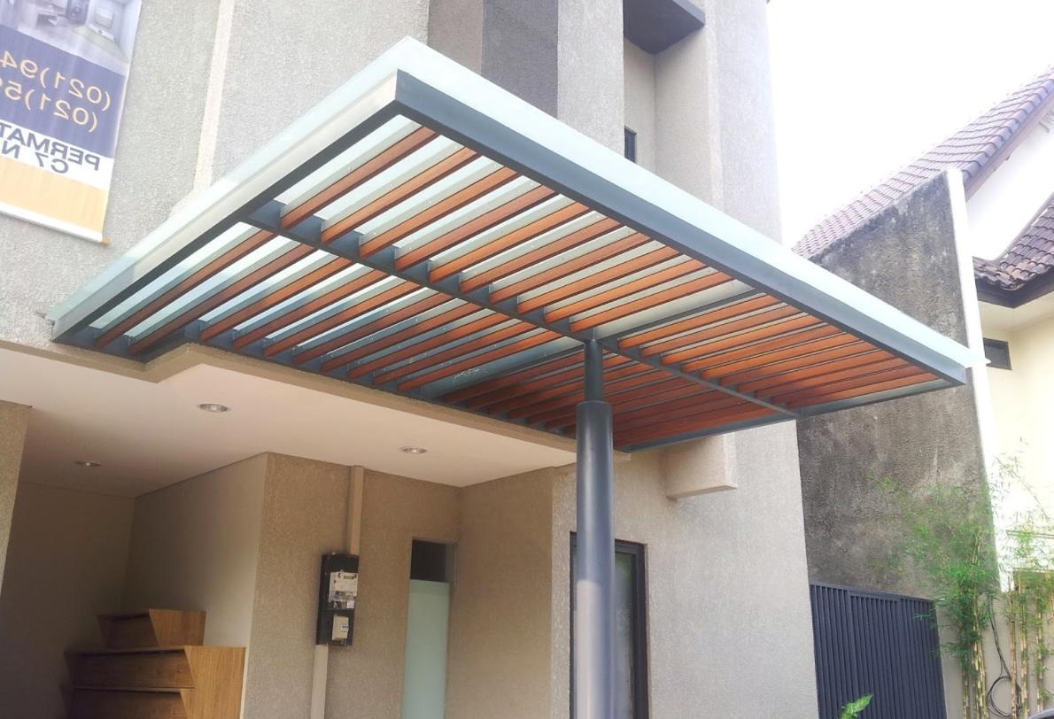 gambar baja ringan kanopi desain terbaru 2019 tanpa tiang penyangga
