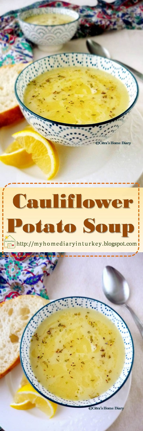 Cauliflower potato soup. Hearty soup that will warm your day. This nutritious and hearty soup guarantee will be best start to warm up your family dinner table. #winterrecipe #souprecipe #cauliflowerrecipe #potato #lentil #heartysoup #comfortfood