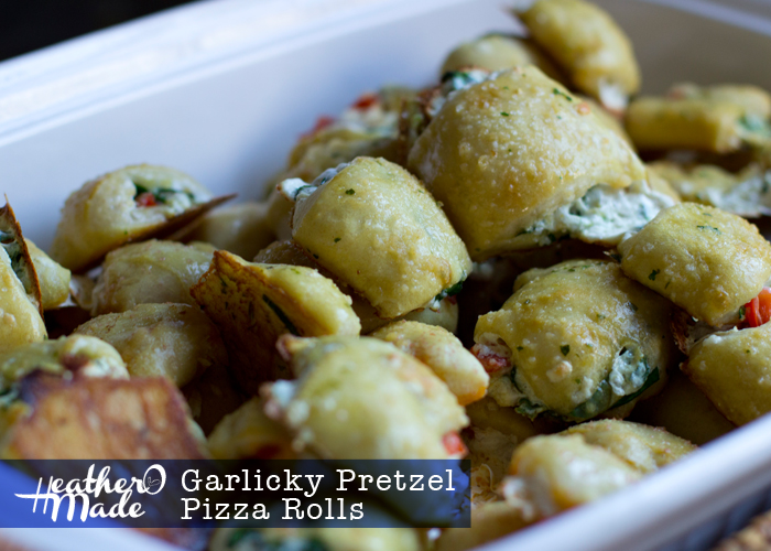 Garlicky Pretzel Pizza Rolls. heatheromade. recipe. appetizers.