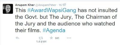 अनुपम खेर के #awardwapsigang ट्वीट2