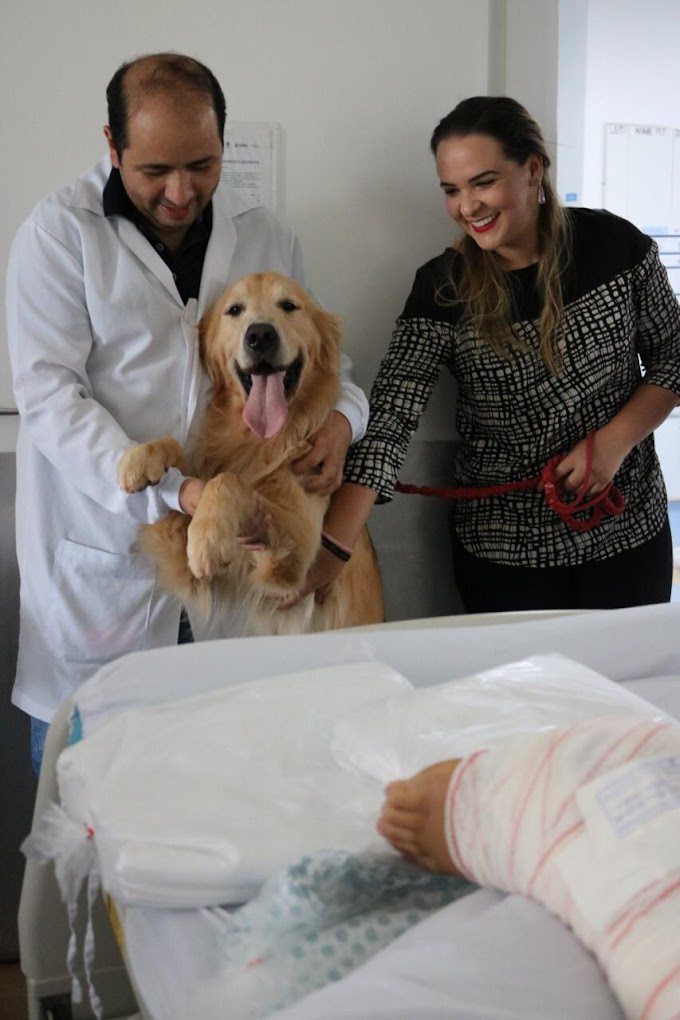 Saúde:Embaixadora da Fundação ENAC Elessandra Carneyro participa de projeto que leva cachorros para alegrar pacientes no HUGO