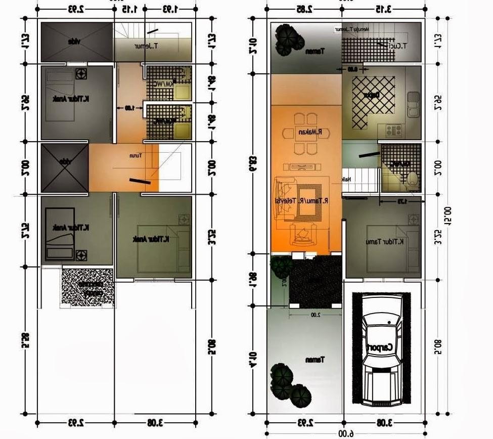Denah Rumah Ukuran 6x10 Meter 2 Lantai 1