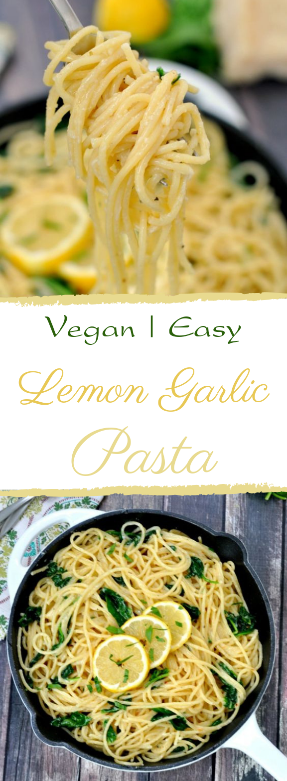 Easy Lemon Garlic Pasta #easy #vegan