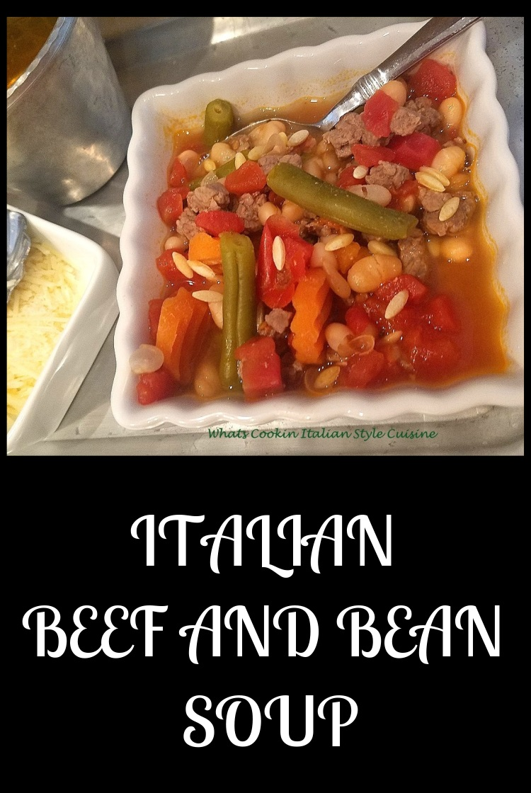 this is a hearty italian bean minestrone soup with mixed vegetables and beef