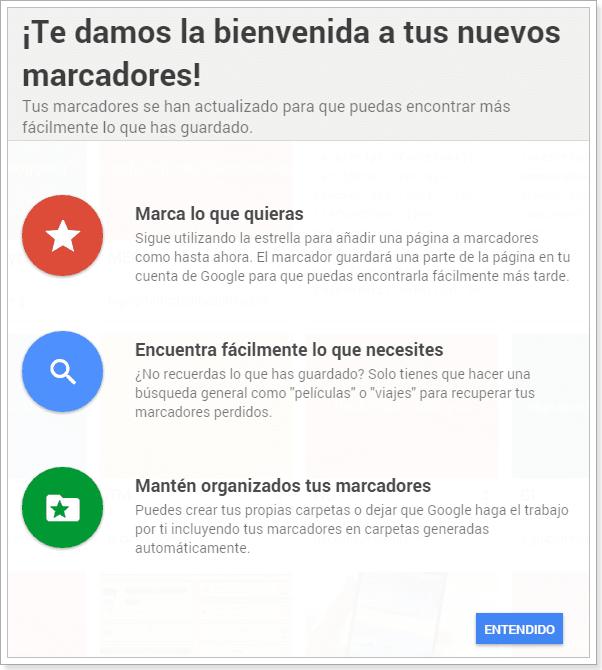 Nuevos marcadores Chrome