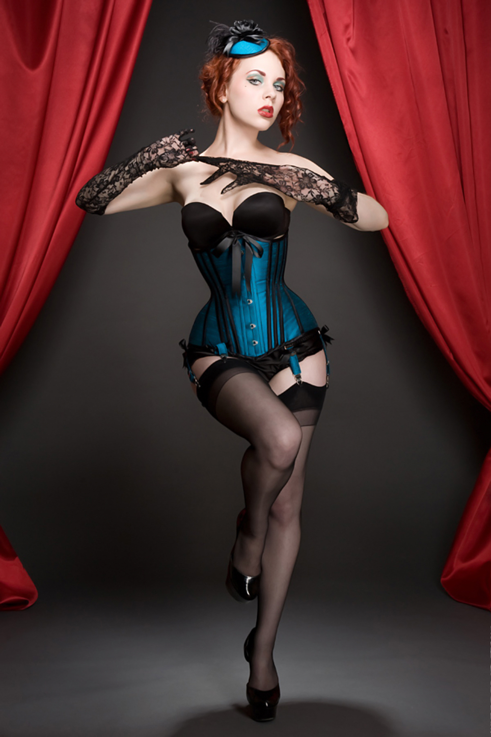 Red velvet burlesque corset outfit