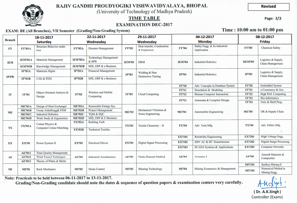 RGPV Examination Time Table