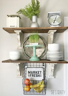 Hanging produce basket.  Metal hanging basket with DIY sign to store fruit.