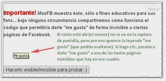 "Facebook ""me gusta"" invisibles"