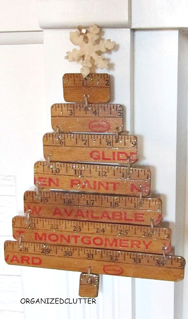 Repurposed Yardstick Christmas Tree www.organizedclutter.net