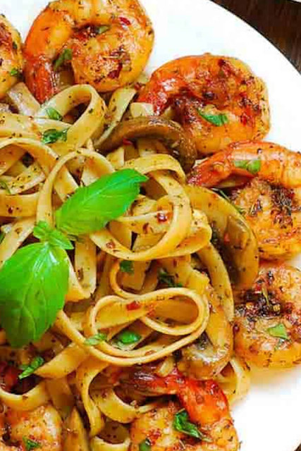 Pesto Shrimp Fettuccine in Mushroom Garlic Sauce