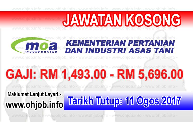 Jawatan Kerja Kosong Kementerian Pertanian dan Industri Asas Tani - MOA logo www.ohjob.info ogos 2017
