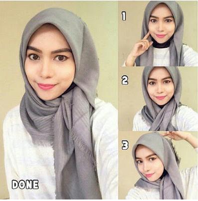 Kumpulan Tutorial Hijab Segi Empat Modern Simple Dan Modis Terbaru 2017