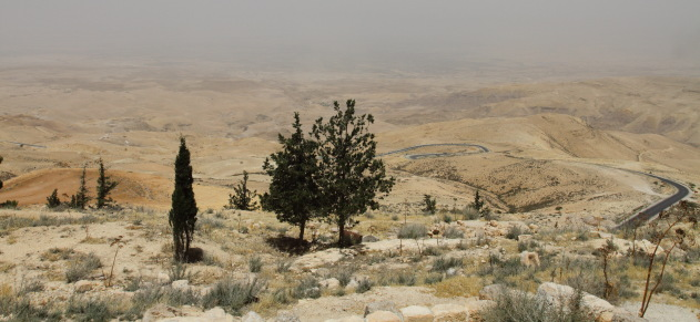 Dry Jordanian landscape as seen from the top of Mount Nebu, Madaba, Jordan