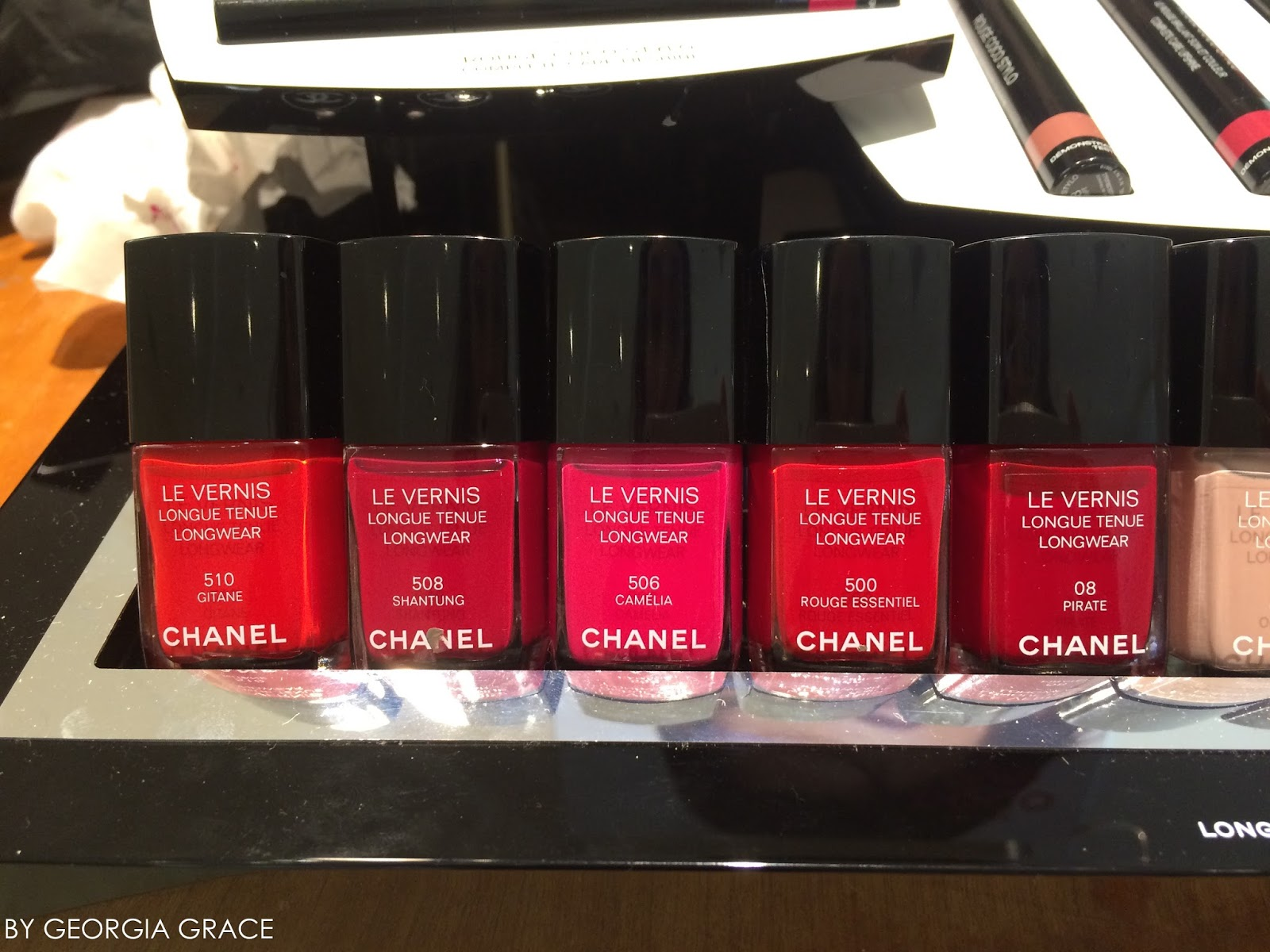4694b85b7cd chanel new le vernis longwear nail polish swatches review gitane shantung  camelia rouge essentiel pirate