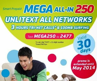 Smart MEGA 250 - Unli Texts to All Networks, Call and Data for  30 days