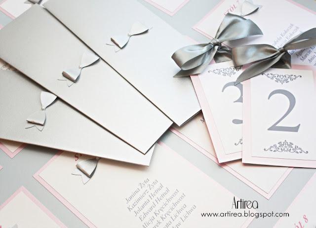 srebrno rozowe zaproszenia slubne delikatne pudrowy roz