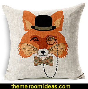 Fox Cotton/Linen Decorative Pillow Cover