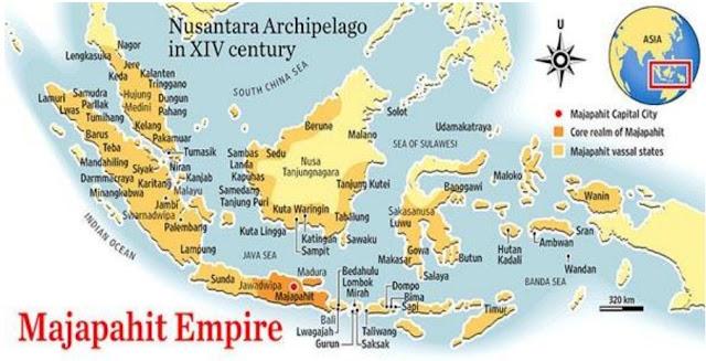 Peta wilayah kekuasaan Majapahit berdasarkan Nagarakertagama; keakuratan wilayah kekuasaan Majapahit berdasarkan penggambaran orang Jawa masih diperdebatkan
