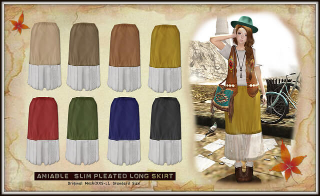 {amiable}Slim Pleated Long Skirt