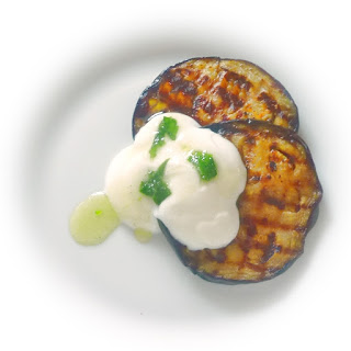 grilled aubergine slices tzatziki wild garlic