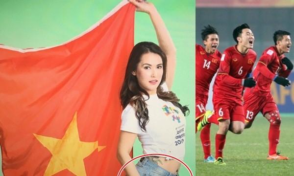 Thánh nữ Maria gây choáng khi cầm cờ Việt Nam, tạo dáng khiêu gợi