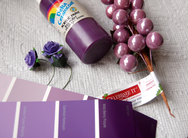 purple craft paint, purple picks, purple craft flowers and purple paint swatches