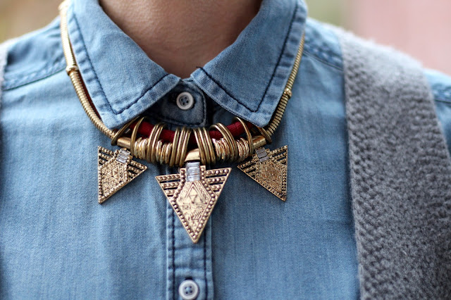 Fake Fabulous | Masculine style. Statement Necklace & Chambray.
