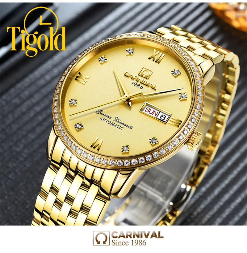đồng hồ cơ nam mạ vàng