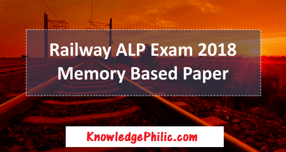 RRB Railway ALP 2018 All Shift All Days Memory Based Question Paper