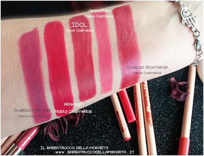 swatches IDOL  makeup Bio Pastello Labbra drama empire collection neve cosmetics