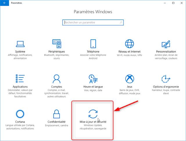 Windows 10 - Paramètres de windows