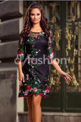 Rochie neagra midi din dantela de lux de seara cu broderie florala maxi