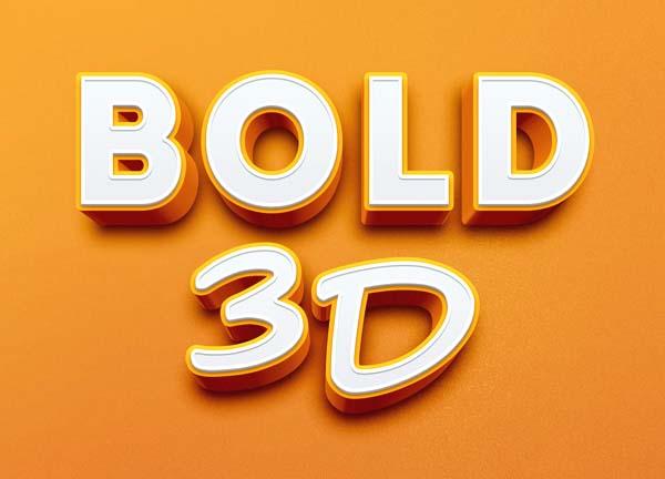 Bold 3D Text Effect PSD