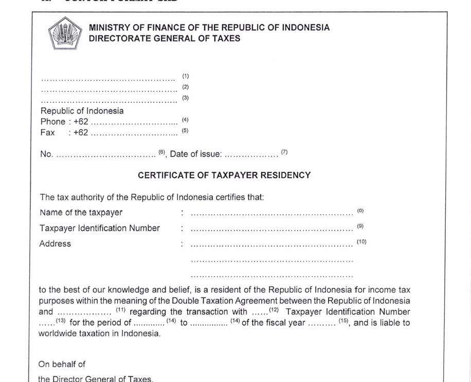 Begini Cara Membuat Certificate of Taxpayer Residency di
