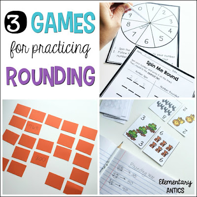 Find out three easy, hands on games for practicing rounding numbers. These games will work for rounding to the nearest ten and hundred (and even thousands or ten thousands)!