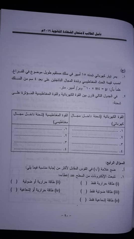 دليل الطالب لامتحان الفيزياء شهادة 2019