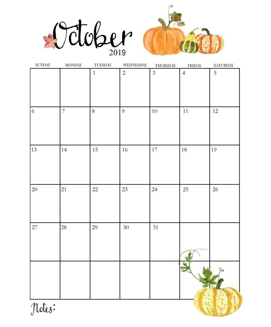 Free October 2019 Calendar Printable