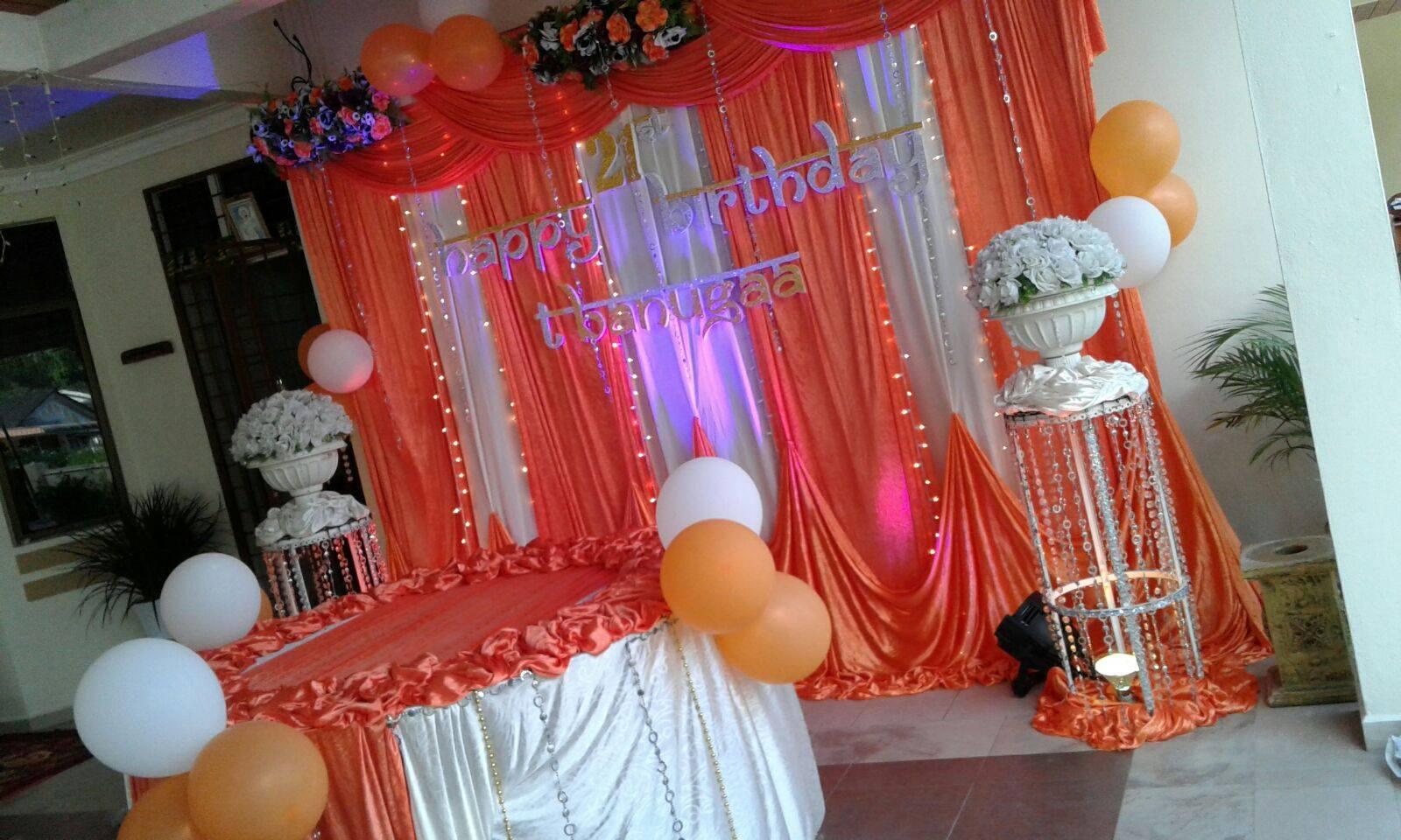 Kisha mega events 21st birthday decoration orange white for 21st birthday decoration ideas