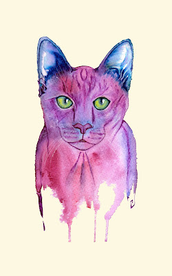 Purple cat 001 by Elizabeth Casua, tHE 33ZTH oRDER. Watercolour artwork, paintings.