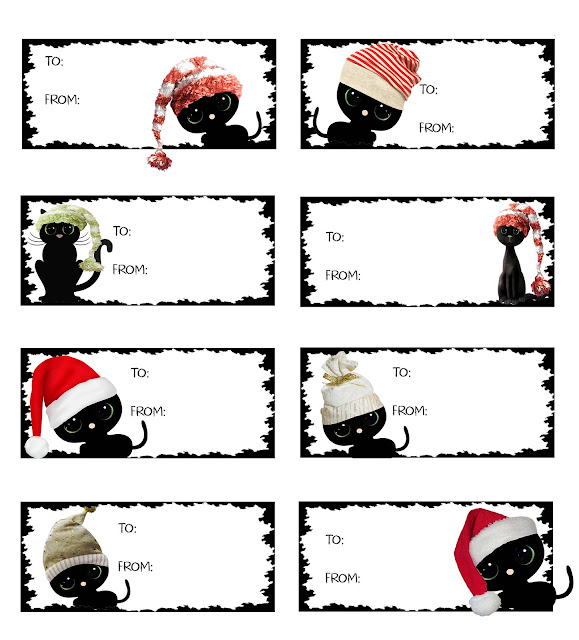black cats in santa hats christmas gift tags