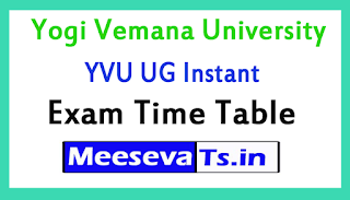 Yogi Vemana University YVU UG Instant Exam Time Table