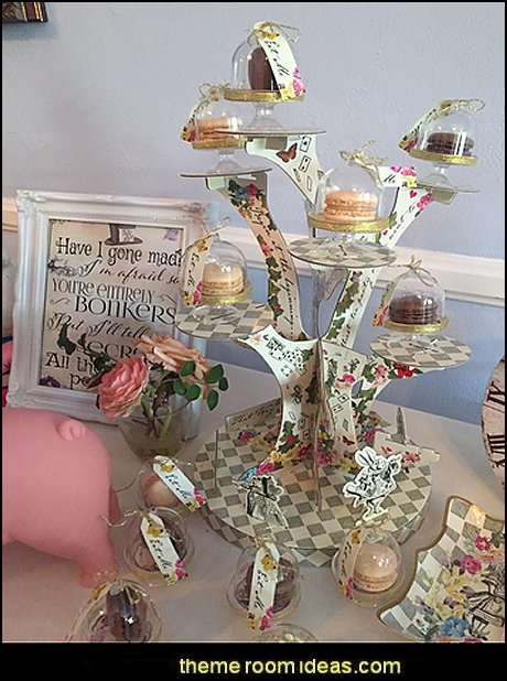 Alice Mad Hatter Cake Domes  Alice in Wonderland party decorating ideas - Alice in Wonderland theme party decorations - Alice in Wonderland costumes -  Alice in Wonderlnd wall decals - Alice in Wonderland wall murals -  tea party theme Alice in Wonderland Tea Party