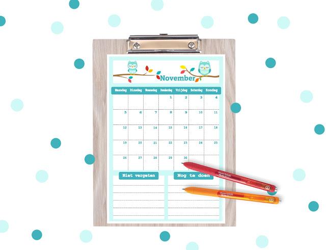 november kalender, kalender voor november, november 2018, 2018 november, uitljes kalender, kalender voor kinderen, gratis printable,