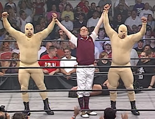NWA: TNA - First Ever Event - Mortimer Plumtree celebrates with The Johnsons