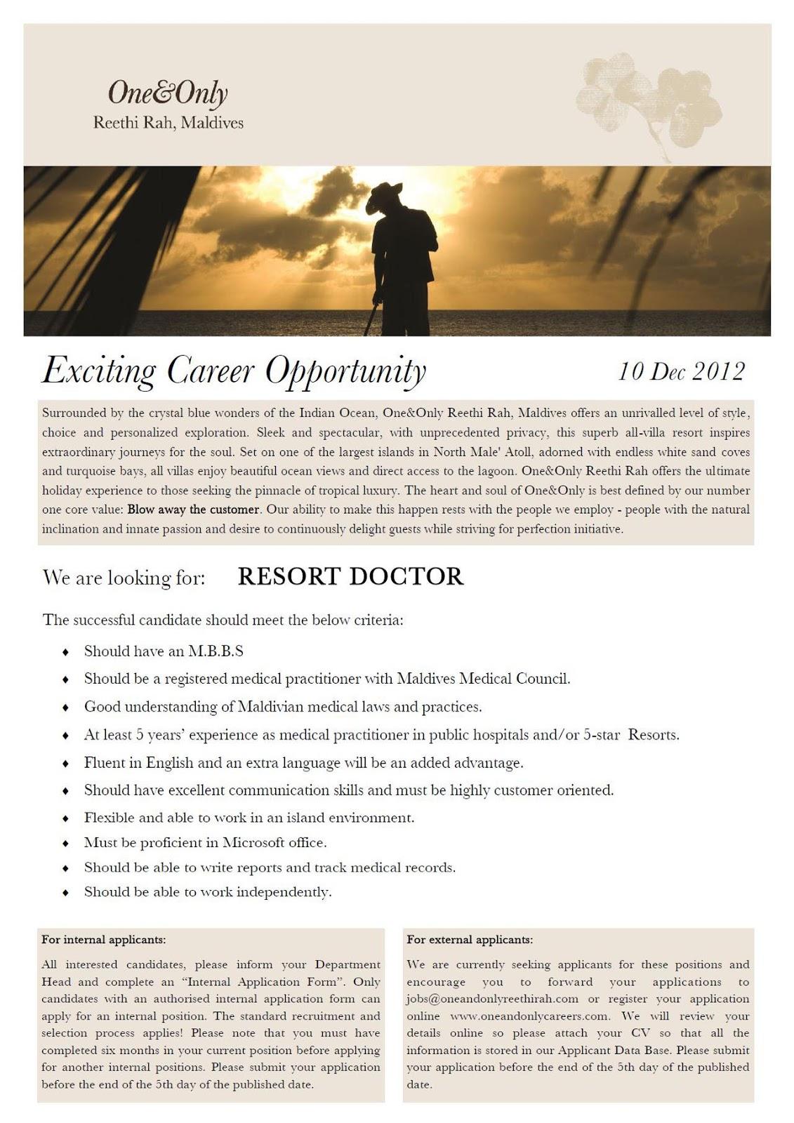 Job Maldives: E N T jobs in Maldives