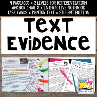 Text Evidence task cards, highlighting and citing text evidence