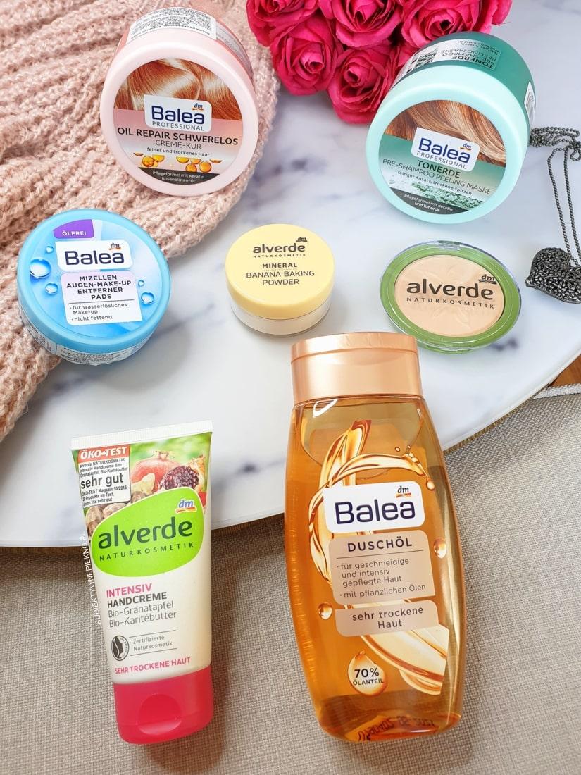 Zakupy kosmetyczne z DM Balea i Alverde - płatki do demakijażu, maski do włosów, Alverde puder bananowy i puder mineralny