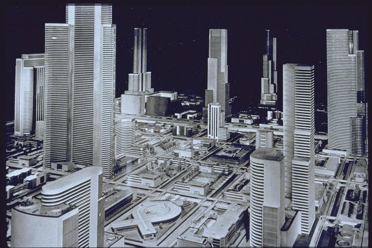 Detalhe da cidade futurista. Nova York, 1939