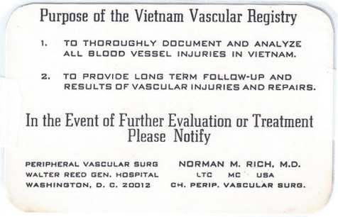 Each patient entered into the Vietnam Vascular Registry was assigned a consecutive number and given a vascular registry card, stating the registry's purpose. (Image credit: courtesy of Dr. Norm Rich)